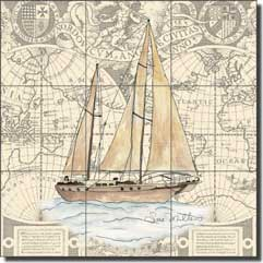 "Mullen Nautical Sailboat Floor Tile Mural 24"" x 24"" - SM029"