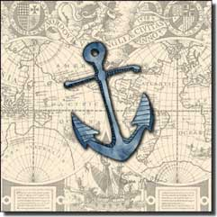 "Mullen Nautical Anchor Ceramic Accent Tile 4.25"" x 4.25"" - SM030AT"
