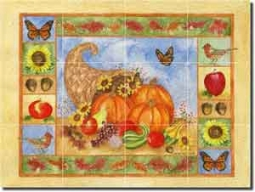 "Mullen Cornucopia Vegetable Glass Tile Mural 24"" x 18"" - SM036"
