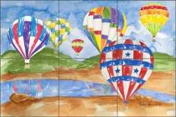 Hot Air Balloons I by Sara Mullen Ceramic Tile Mural SM037