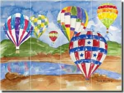 "Mullen Hot Air Balloons Ceramic Tile Mural 17"" x 12.75"" - SM037"