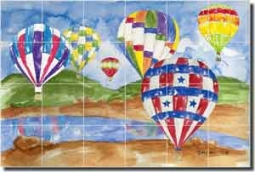 "Mullen Hot Air Balloons Ceramic Tile Mural 36"" x 24"" - SM037"