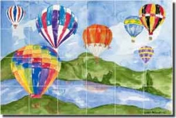 "Mullen Hot Air Balloon Ceramic Tile Mural 36"" x 24"" - SM039"