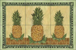 Pineapple II by Sara Mullen Ceramic Tile Mural - SM040