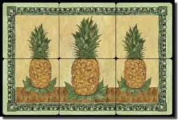"Mullen Pineapple Fruit Tumbled Marble Tile Mural 18"" x 12"" - SM040"