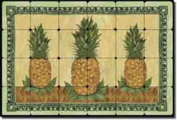 "Mullen Pineapple Fruit Tumbled Marble Tile Mural 24"" x 16"" - SM040"