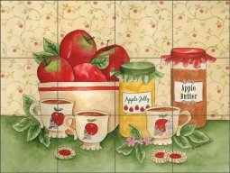 Apple Tea Time by Sara Mullen Ceramic Tile Mural SM046