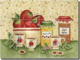 "Mullen Fruit Apple Ceramic Tile Mural 24"" x 18"" - SM046"