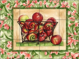 Apples and Blossoms III by Sara Mullen Ceramic Tile Mural - SM048