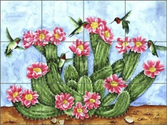 Cactus with Hummingbirds by Sara Mullen Ceramic Tile Mural SM049