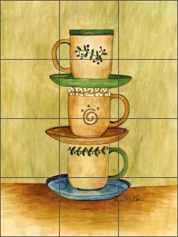 Coffee Time by Sara Mullen Ceramic Tile Mural - SM050
