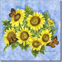 "Mullen Sunflowers Floral Ceramic Accent Tile 8"" x 8"" - SM057AT"