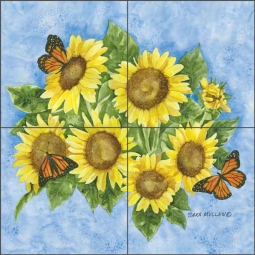Sunflowers by Sara Mullen Ceramic Tile Mural SM057