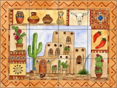Southwest Sampler by Sara Mullen Ceramic Tile Mural - SM058