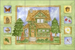 Cabin in the Woods - Summer by Sara Mullen Ceramic Tile Mural - SM060