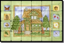 "Mullen Lodge Art Cabin Tumbled Marble Tile Mural 24"" x 16"" - SM060"