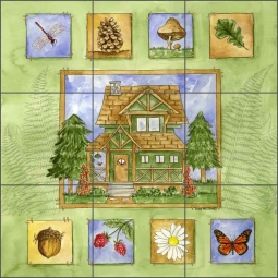 Cabin in the Woods by Sara Mullen Ceramic Tile Mural - SM061