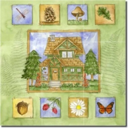"Cabin in the Woods by Sara Mullen - Lodge Art Tumbled Marble Tile Mural 16"" x 16"" Kitchen Shower Bac"