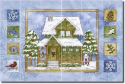 "Cabin in the Woods - Winter by Sara Mullen - Lodge Art Tumbled Marble Tile Mural 16"" x 24"" Kitchen S"