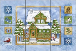 Cabin in the Woods - Winter by Sara Mullen Ceramic Tile Mural SM062
