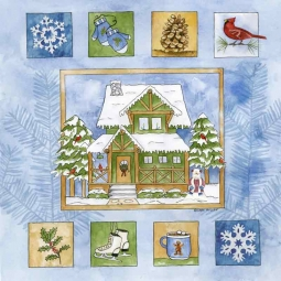 Cabin in the Woods II by Sara Mullen Floor Tile Art SM063AT