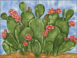 Beavertail Cacti by Sara Mullen Ceramic Tile Mural SM064