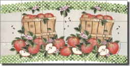 "Mullen Apples Fruit Ceramic Tile Mural 25.5"" x 12.75"" - SM065"
