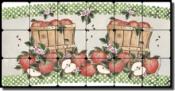 "Mullen Apples Fruit Tumbled Marble Tile Mural 24"" x 12"" - SM065"