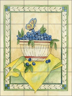 Blueberries by Sara Mullen Ceramic Tile Mural - SM066