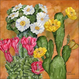 Cacti Garden by Sara Mullen Ceramic Accent & Decor Tile - SM067AT