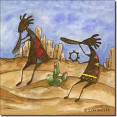 "Mullen Southwest Kokopelli Ceramic Accent Tile 8"" x 8"" - SM084AT"