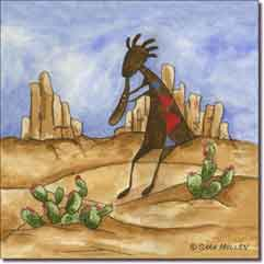 "Mullen Southwest Kokopelli Ceramic Accent Tile 8"" x 8"" - SM085AT"