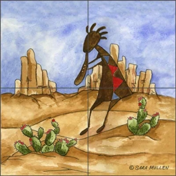 Kokopelli Sampler IV by Sara Mullen Ceramic Tile Mural SM085