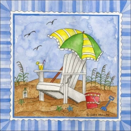 It's Beach Time III by Sara Mullen Ceramic Accent & Decor Tile - SM094AT