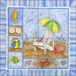 It's Beach Time IV by Sara Mullen Ceramic Tile Mural - SM095