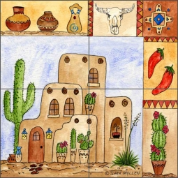 Southwest Sampler II by Sara Mullen Ceramic Tile Mural - SM097