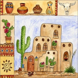Southwest Sampler III by Sara Mullen Ceramic Accent & Decor Tile - SM098AT