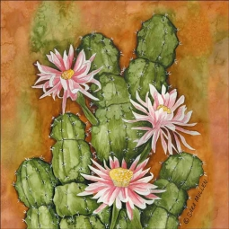 Cereus Cactus by Sara Mullen Ceramic Accent & Decor Tile SM106AT