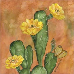 Prickley Pear Cactus by Sara Mullen Ceramic Accent & Decor Tile SM108AT