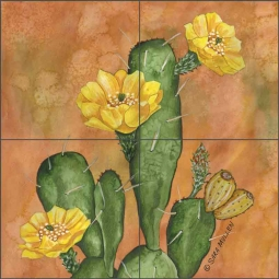 Prickley Pear Cactus by Sara Mullen Ceramic Tile Mural SM108
