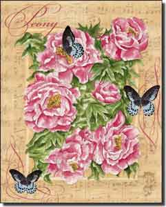 "Mullen Peony Butterfly Ceramic Accent Tile 8"" x 10"" - SM112AT"