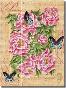 "Mullen Peony Butterfly Ceramic Tile Mural 18"" x 24"" - SM112"