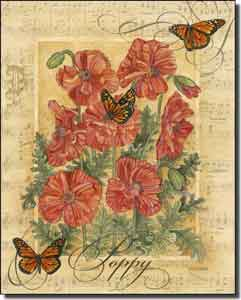 "Mullen Poppy Butterfly Ceramic Accent Tile 8"" x 10"" - SM113AT"