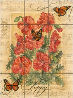 Butterfly Meadows - Poppy by Sara Mullen Ceramic Tile Mural SM113