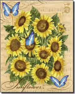 "Mullen Sunflowers Butterflies Ceramic Accent Tile 8"" x 10"" - SM114AT"