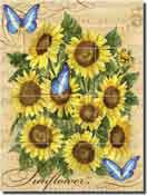 "Mullen Sunflowers Butterflies Ceramic Tile Mural 18"" x 24"" - SM114"