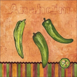 Fiesta Peppers - Anaheim by Sara Mullen Ceramic Accent & Decor Tile - SM116AT