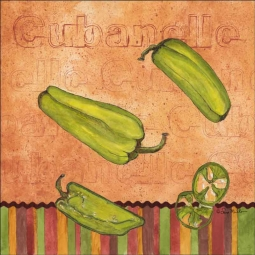 Fiesta Peppers - Cubanelle by Sara Mullen Ceramic Accent & Decor Tile - SM117AT