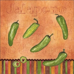 Fiesta Peppers - Jalapeno by Sara Mullen Ceramic Accent & Decor Tile - SM119AT