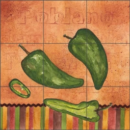Fiesta Peppers - Poblano by Sara Mullen Ceramic Tile Mural - SM120